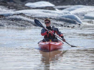 Kajakfahren am Gletscher Sólheimajökull